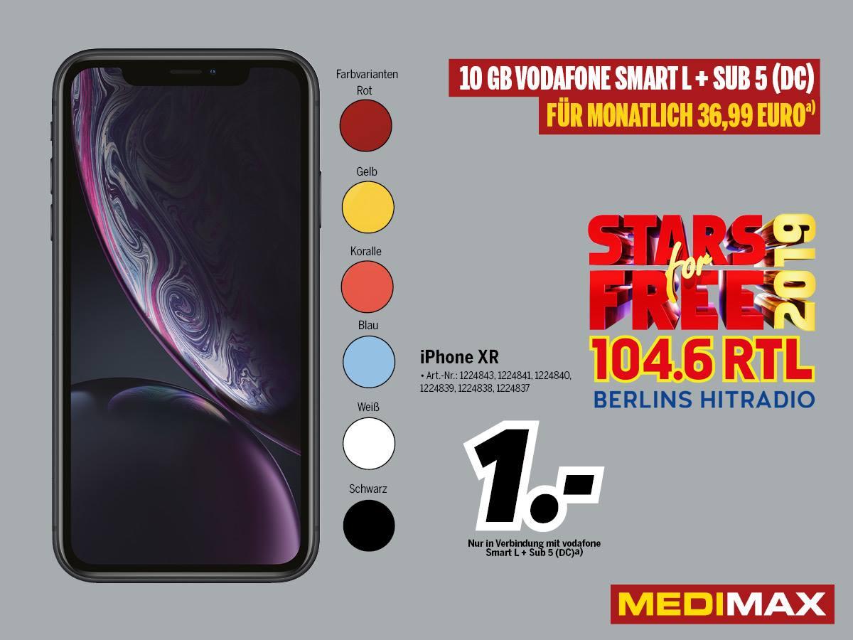 [Lokal] Medimax Eberswalde - iPhone XR (64GB) für 1€ ZZ im Vodafone Smart L+ (10GB) für mtl. 36,99€