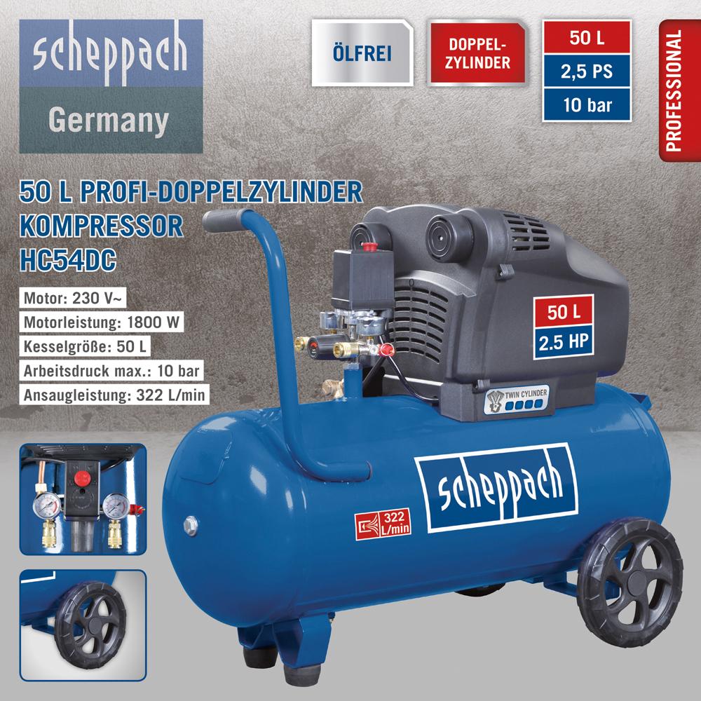 Scheppach Profi-Doppelzylinder Kompressor HC54DC, ölfrei, inkl. Versandkosten