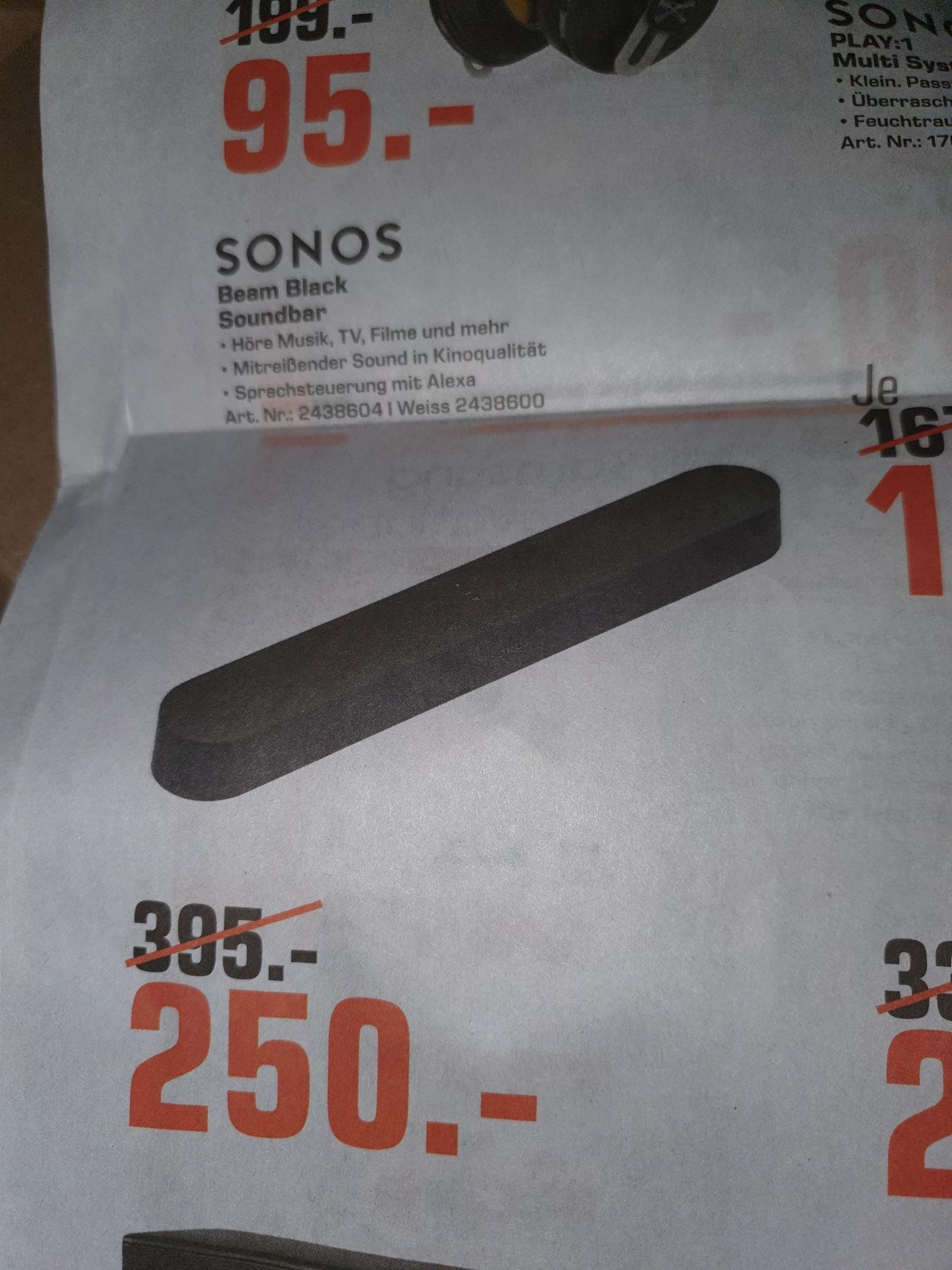 [Lokal Saturn Magdeburg] Sonos Beam schwarz für 250€, Sonos PLAY:1 120€, Sonos One Gen2 weiß 180€