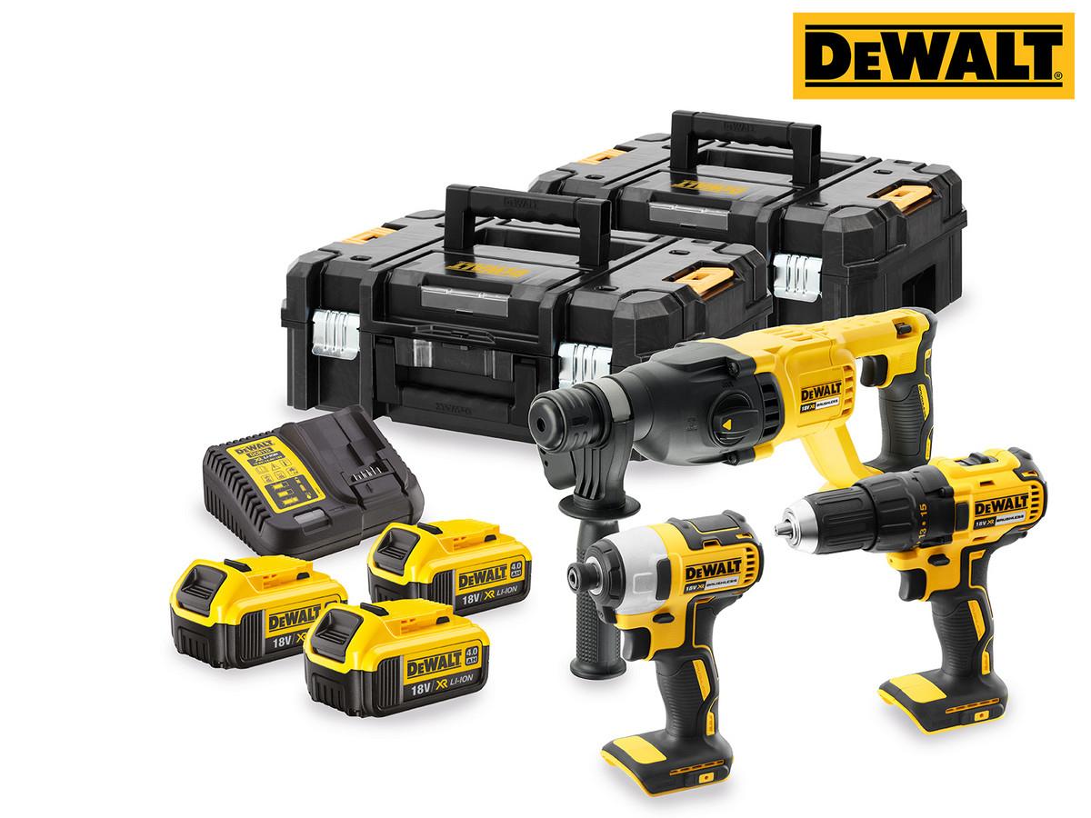 """DeWalt Schraub- und Bohrset """"DCK372M3T-QW"""" (18 V, Carbon Brushless, 3x 4Ah-Akkus, XR Multi-Ladegerät, 2x TSTAK Koffer)  [iBOOD]"""