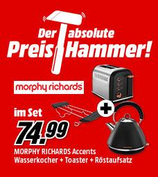 Morphy Richards Frühstücksset mit Wasserkocher, Toaster und Röstaufsatz