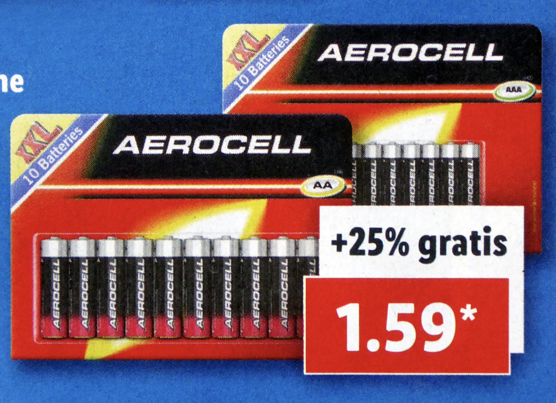 Aerocell Batterien im XXL 10er Pack Mignon oder Micro für je 1,59€ - [Lidl ab 29.08.]
