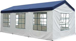 Silvertree Pavillon-Set Tim XL H2,6 x L3 x B6 m, blau/weiß für 97€ [Real]