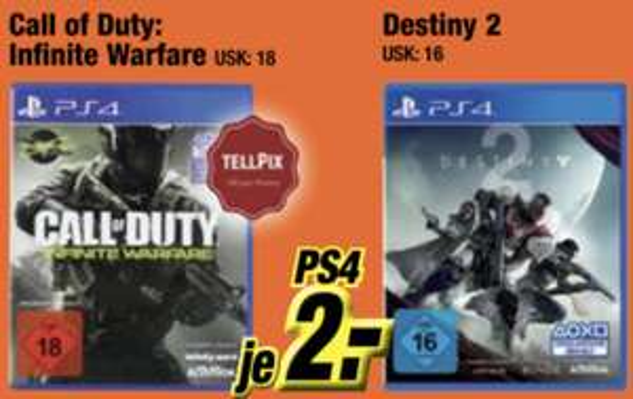 Lokal Expert Klein: Call of Duty Infinite Warfare oder Destiny 2 PS4 für je 2€