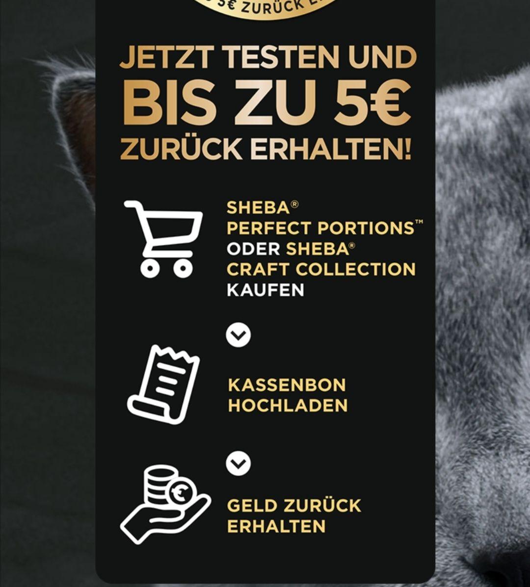GRATIS testen 100% Cashback auf 680g  Sheba Katzenfutter GzG