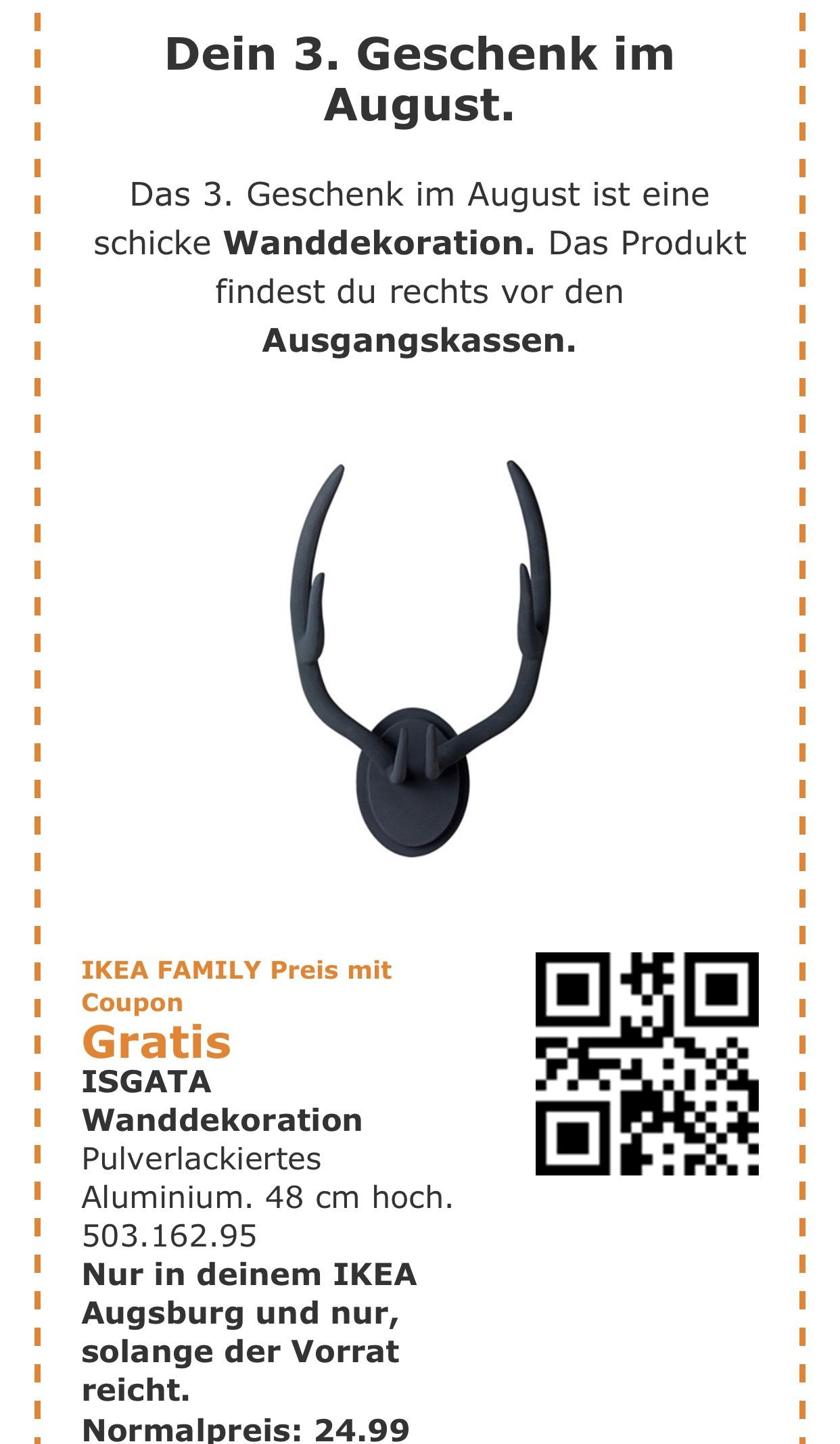 "[IKEA Augsburg] Gratis ""ISGATA"" Wanddeko 24,95€ für Family Kunden"