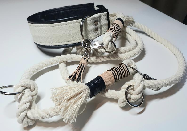 Hundehalsband mit Leine in Reptil-Look weiß mit Leder