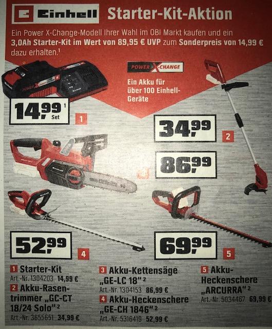 "[OBI Offline] EINHELL Akku Power X-Change Geräte z.B. Rasentrimmer ""GC-CT 18/24"" inkl. 3Ah Akku und Ladegerät (Heckenschere, Kettensäge...)"