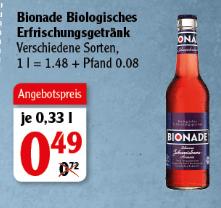 [Globus Rostock] Bionade - verschiedene Sorten - 0,33l Flasche - Preis ohne Pfand ;)