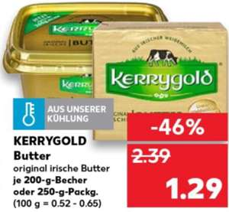Kaufland ab Donnerstag 22.08.19 gibt es original irische Kerrygold Butter endlich mal wieder zum guten Preis für 1,29€ in der 250g Packung