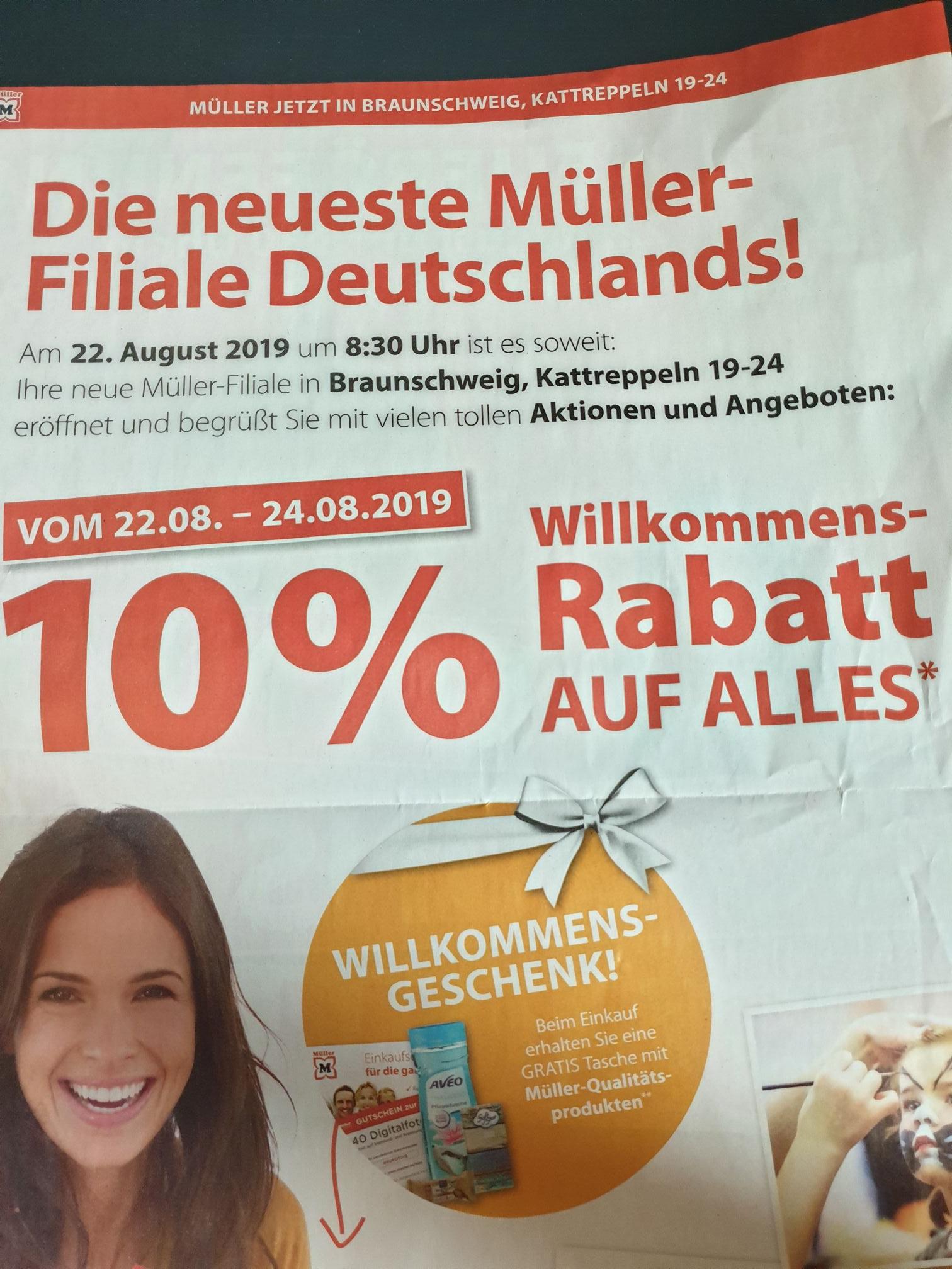 [Lokal Braunschweig] Müller Drogeriemarkt 10% + Willkommensgeschenk