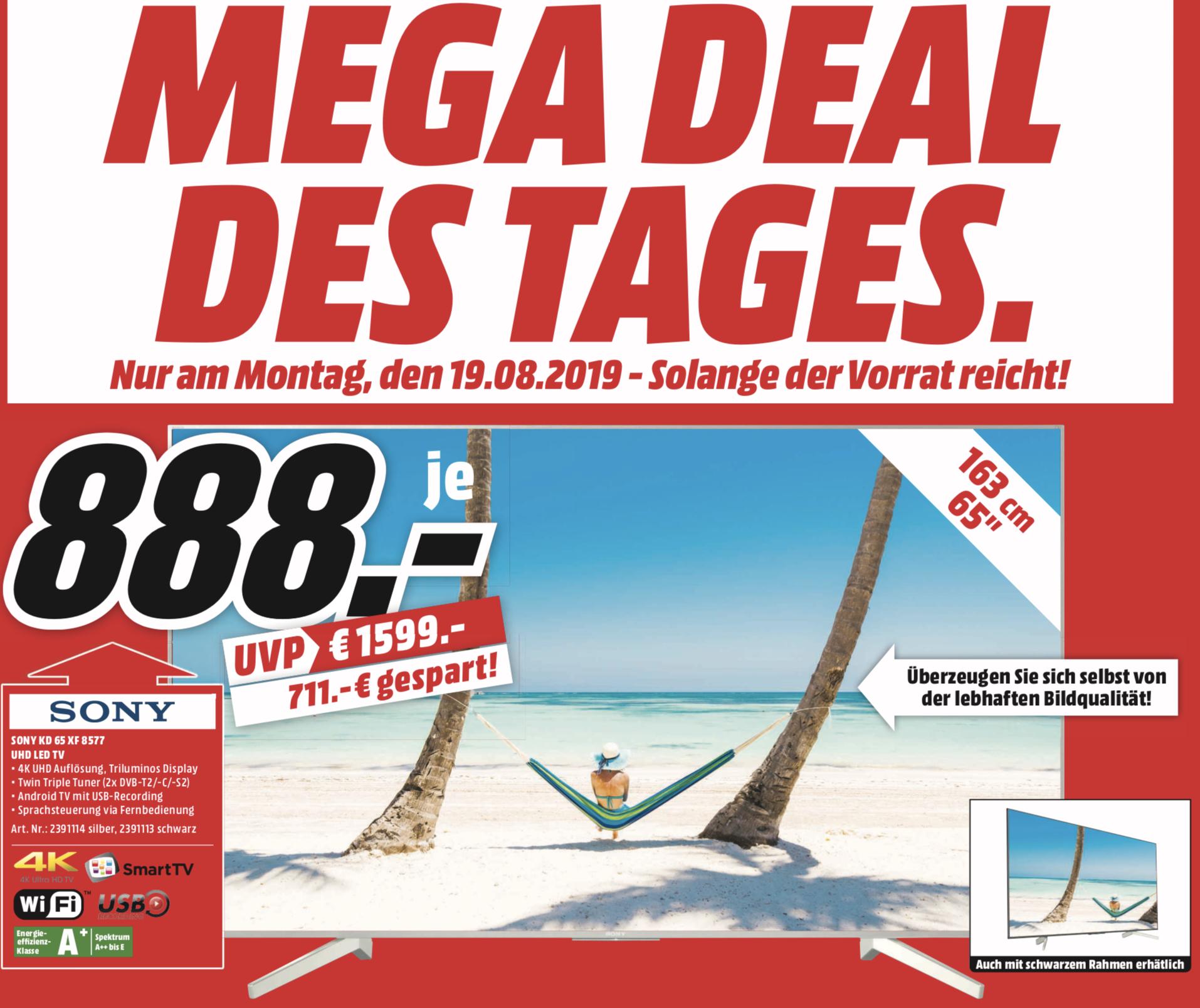 "Lokal MediaMarkt Bayreuth: Sony KD65XF8577 oder Sony KD65XF8505 65"" 164cm IPS 4K UHD TV für je 888€ - nur am Montag!"