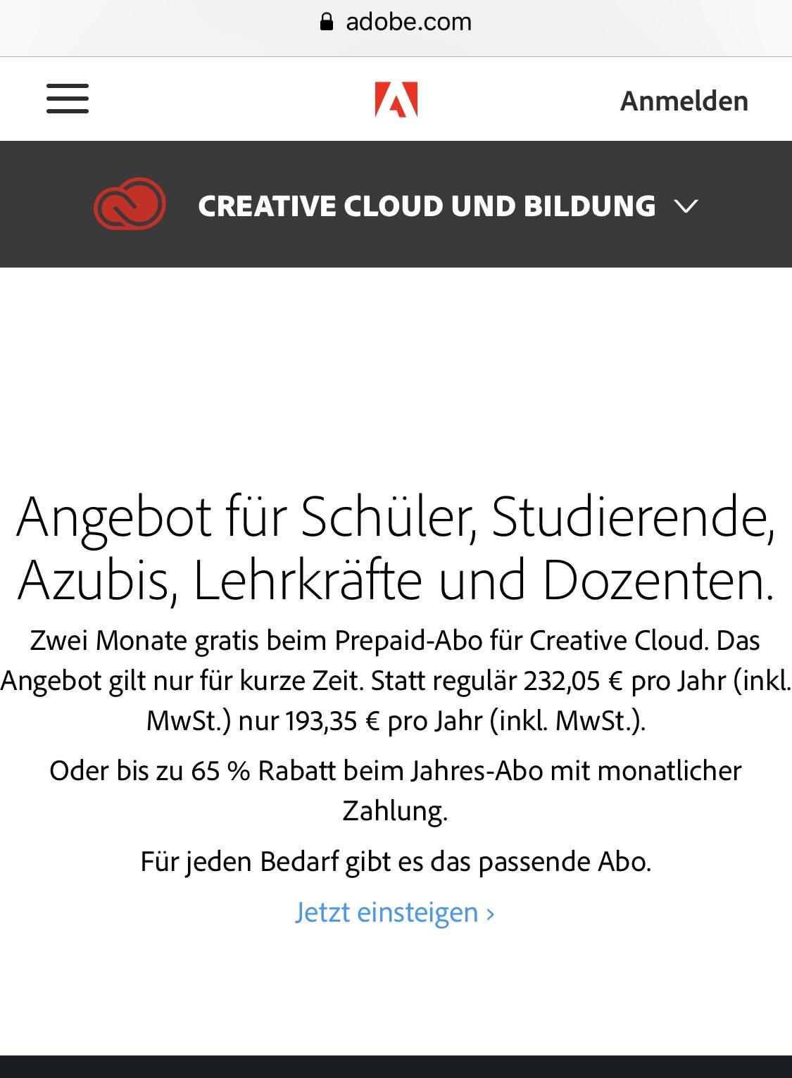 Adobe Creative Cloud - Student Edition Rabattaktion