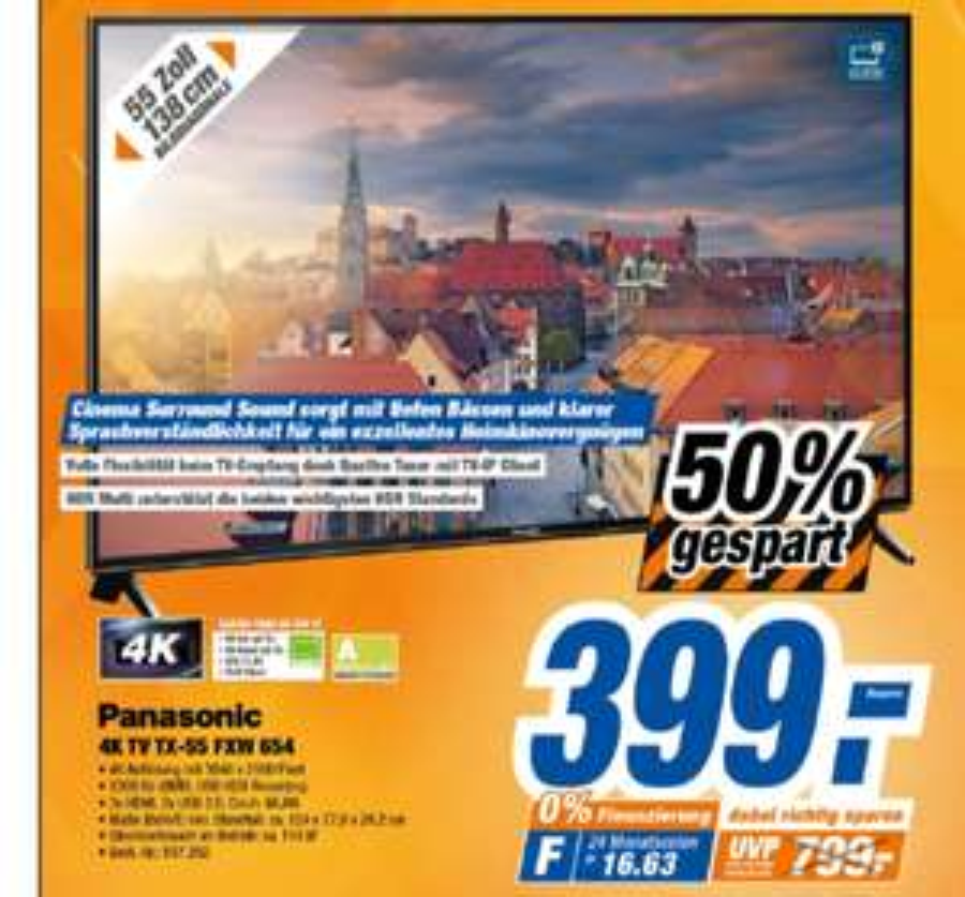 [Lokal Nürnberg] Panasonic TX-55FXW654 4K 55 Zoll UHD TV (LED Fernseher, Smart TV, HDR,Quattro Tuner, Alexa Sprachsteuerung) für 399€
