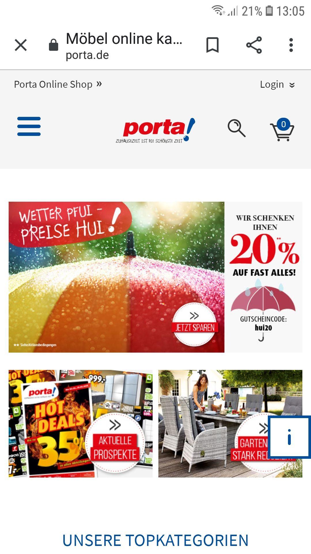Porta 20% Rabatt auf Online Bestellungen