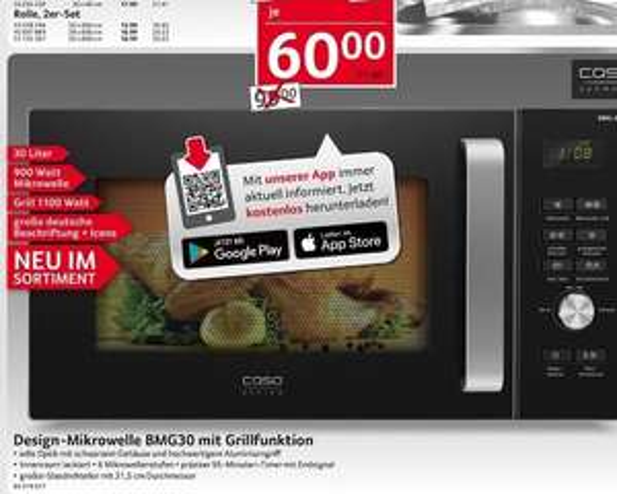 [SELGROS bundesweit] Caso BMG 30 Design Mikrowelle mit Grill