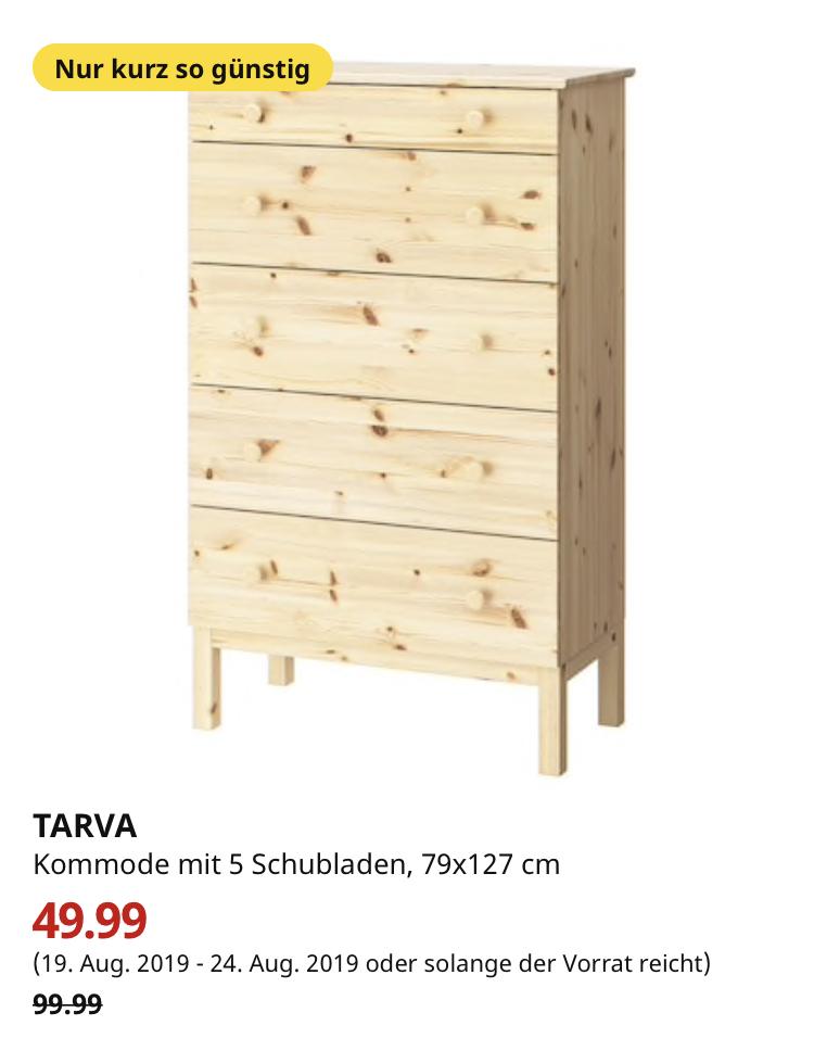 (IKEA Bremerhaven) TARVA Kommode mit 5 Schubladen, Kiefer, 79x127 cm