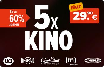 5x Kino Tickets für 29,90€ - Einlösbar bei UCI, KinoPolis, CineStar, Mathäser & CinePlex [Rewe & Penny Kartenwelt]