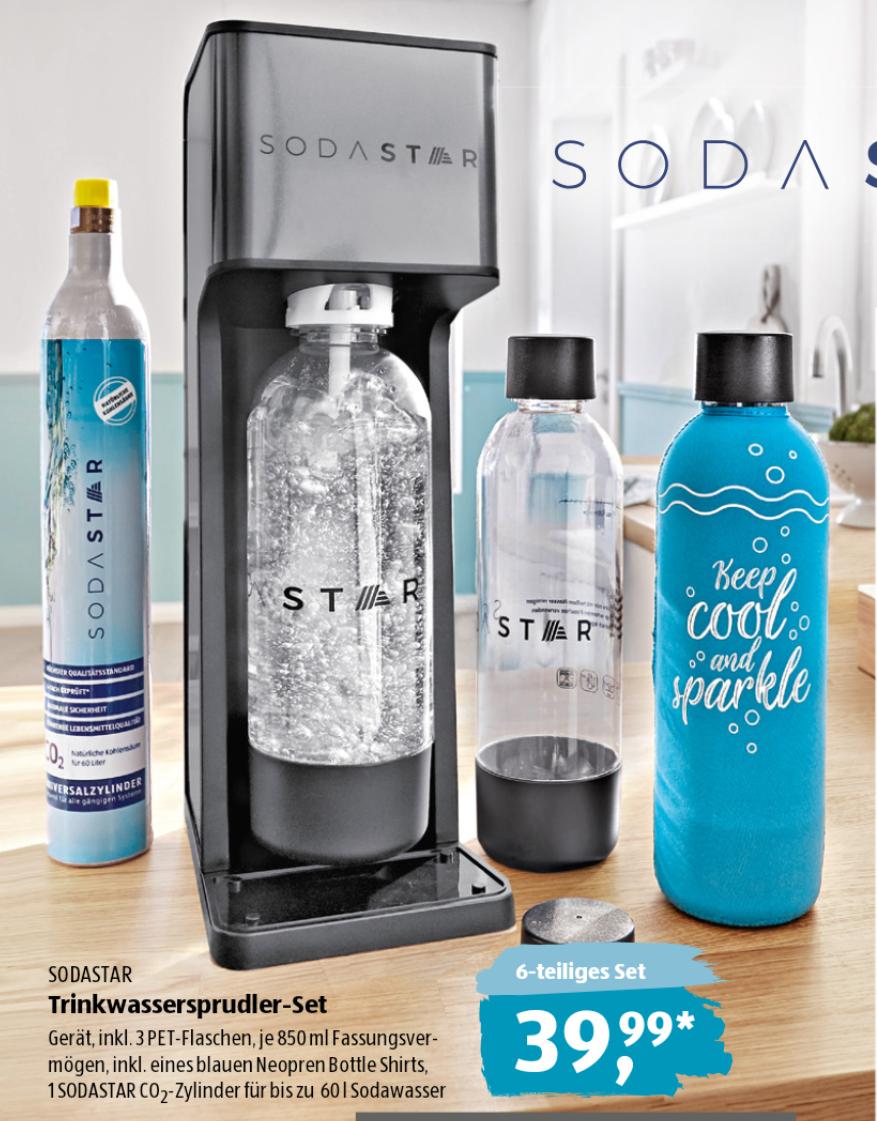 [Aldi Süd ab 26.08.] Sodastar Trinkwassersprudler inkl. 3 PET-Flaschen und CO2-Zylinder