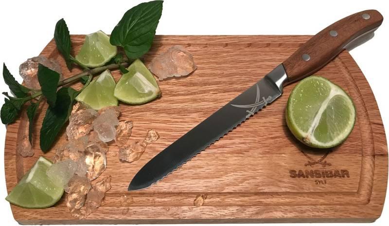 Rösle Sansibar Universalmesser mit Eichenholz Schneidebrett 25 x 15 cm