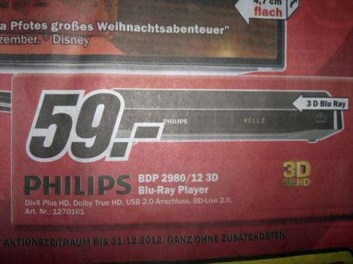 Philips BDP2980 3D Blu-Ray Player für 59€ @MM Halle-Peißen [lokal?]