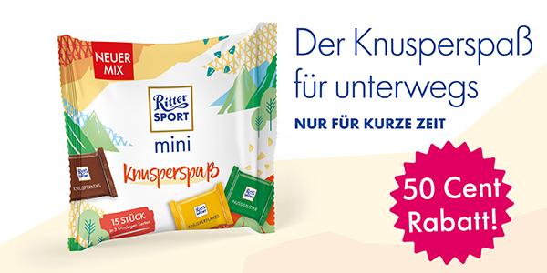 """50 Cent Rabatt bei GLOBUS auf """"Ritter Sport mini Knusperspaß"""""""