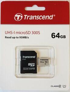 Transcend micro SD XC 64GB Speicherkarte, Premium 300S