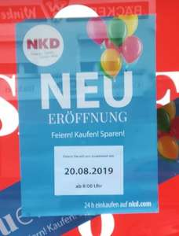 Lokal Düsseldorf NKD Neueröffnung 20.08.19 20% Rabatt auf alles Westfalenstr. 48  40472 Düsseldorf