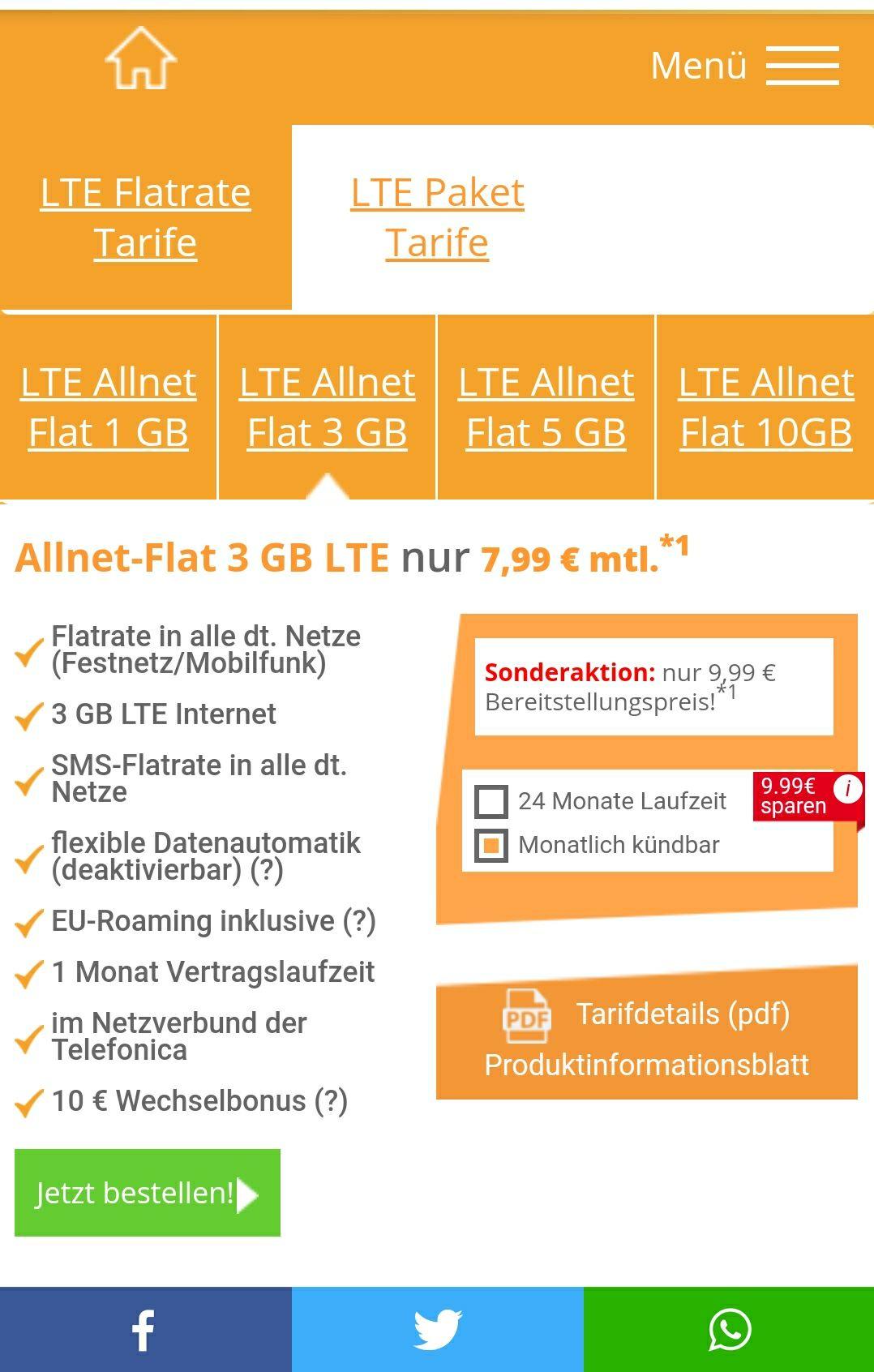 3gb Allnet flat Telefonica LTE für 6.99/Monat monatlich kündbar oder 24 Monate mit 9.99 Bonus