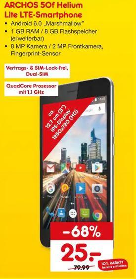 [Lokal - Netto Marken-Discount Laatzen] Archos 50f Helium Lite LTE 5 Zoll Smartphone für 25€