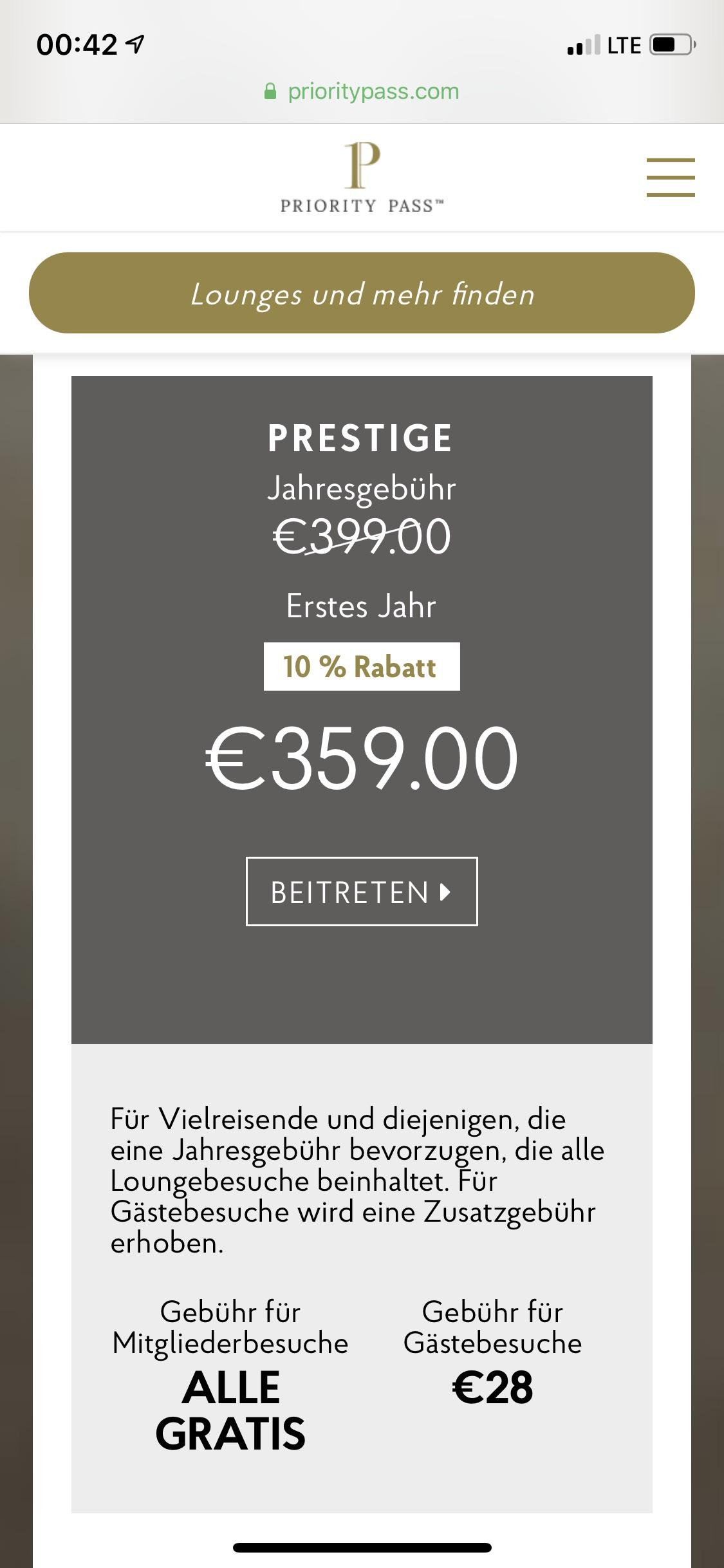 Priority pass 10% Rabat für das 1 Jahr!