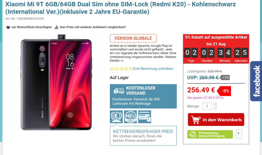 Xiaomi Mi 9T 22% Günstiger, 64 GB Speicher u. 6 GB Ram ohne Notch