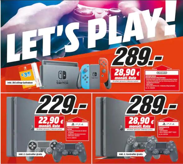 [Media Markt Köln/ebay] PS4 500GB+2.Con 229€ | 1TB+2.Con 289€ | Switch+35eShop 289€)