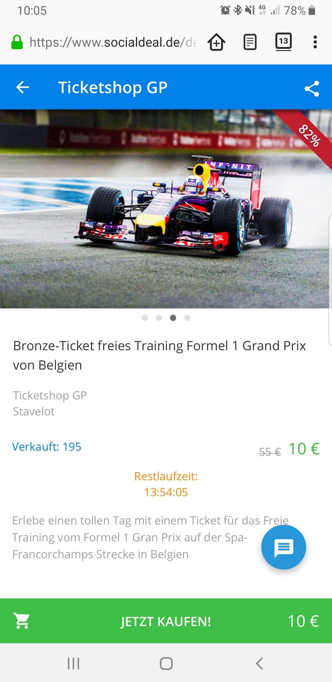 Bronzeticket Freitag Formel 1 GP Belgien -30.08.19