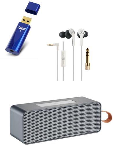 Audioquest DragonFLY Cobalt USB-D/A-Wandler mit Verstärker + Yamaha EPH-M 200 In-Ear Kopfhörer + Grundig GSB 720 Bluetooth Lautsprecher
