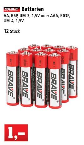 Offline, Thomas Philipps: 12x Batterien für 1€ - AA, AAA