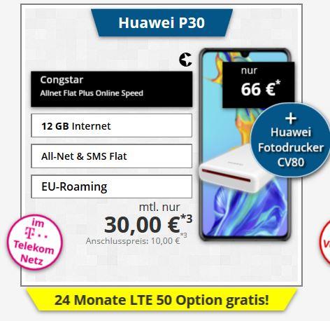 Huawei P30+Congstar Allnet Flat für 30 Euro mtl. 12GB Telekom LTE + Bluetooth Drucker
