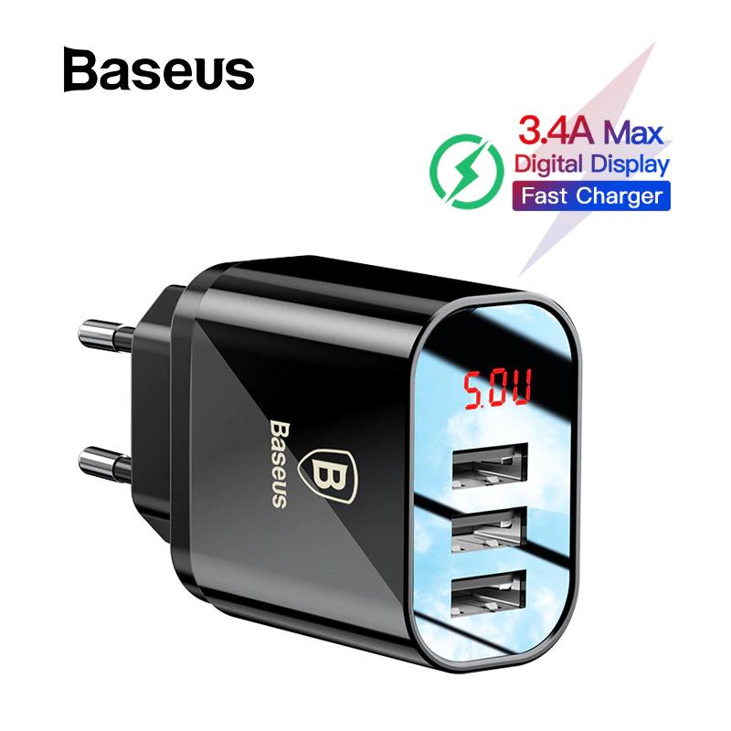 Baseus-Angebote bei AliExpress: z.B. 3-Port USB-Ladegerät mit LED-Anzeige - 7,02€   10W Qi-Ladegerät fürs Auto-Lüftungsgitter - 21,59€