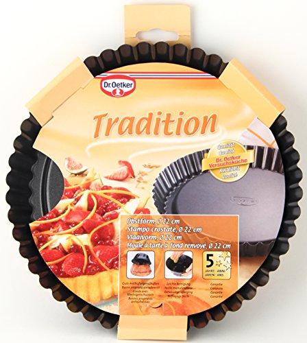 Dr. Oetker Obstkuchenform Ø 22 cm klassische Backform für köstlichen Tortenboden Quicheform aus Stahl mit Antihaftbeschichtung [Prime]