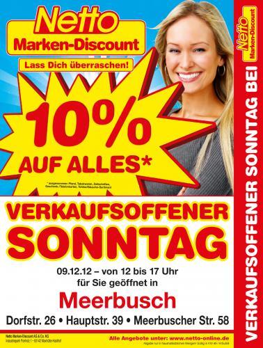 [LOKAL MEERBUSCH] NETTO 10% AUF ALLES AM SONNTAG 09.12.2012