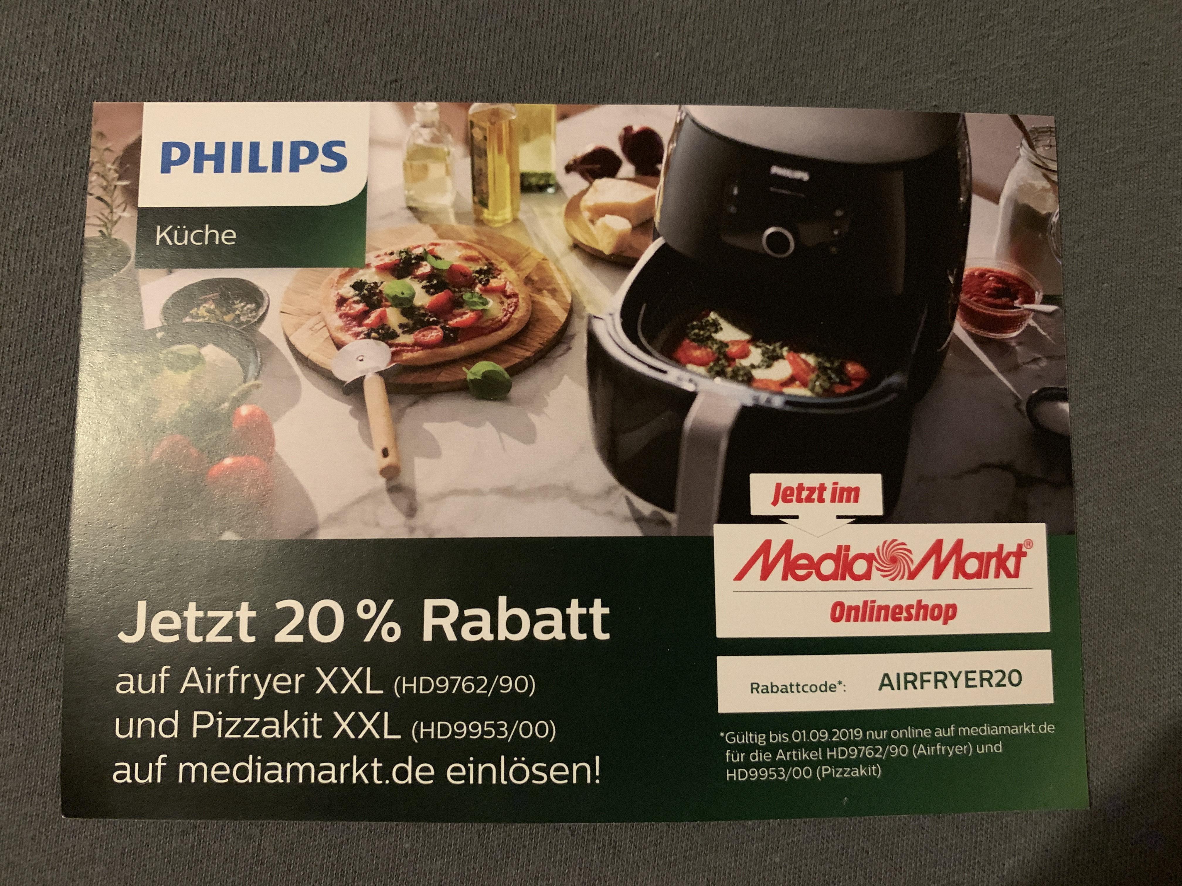 20% auf Philips Airfryer (HD9762) und Pizzakit (HD9953) XXL