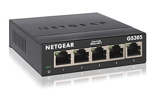"Netgear 5-Port Gigabit Switch ""GS305-300PES"" (Lüfterlos, einfaches Plug + Play, Layer2, Metallgehäuse, energiesparend, RJ45) [Amazon-Prime]"
