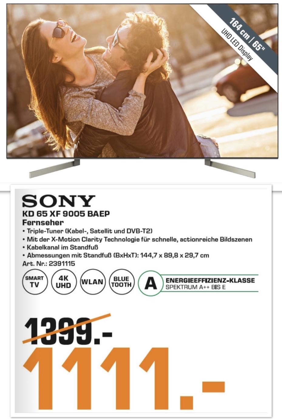"Lokal Saturn Nürnberg Fürth Osnabrück: Sony KD-65XF9005 164cm 65"" 4K UHD TV FALD für 1111€"