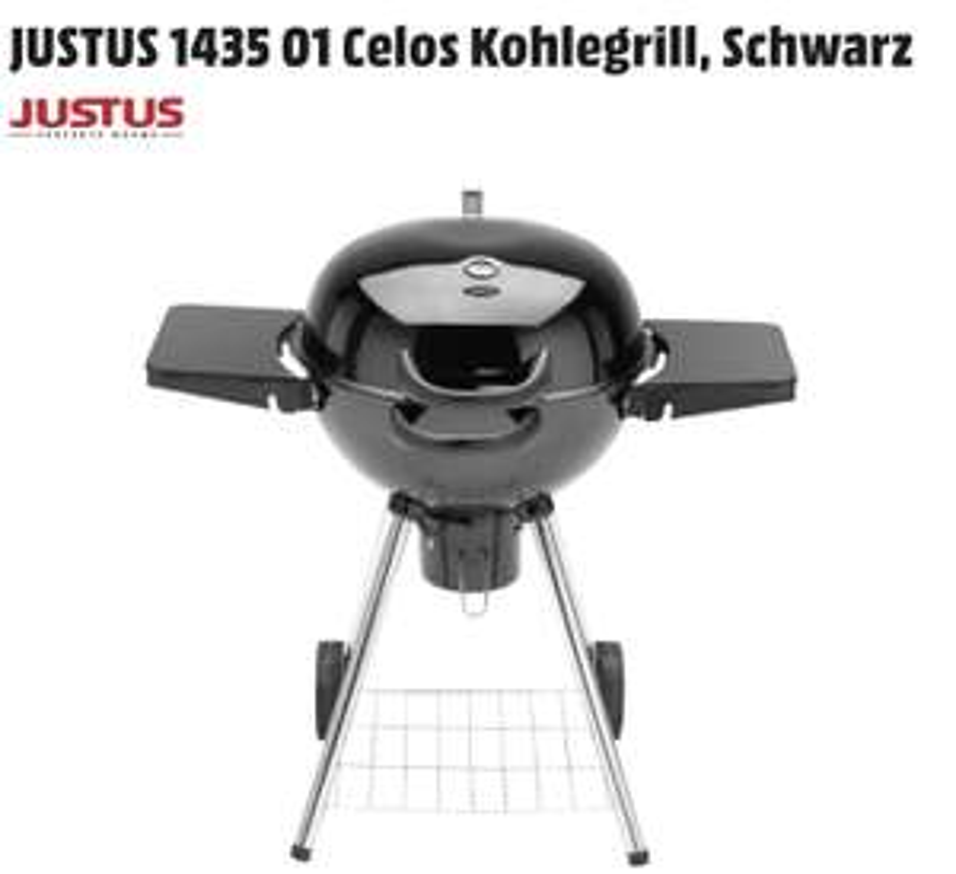 [MediaMarkt] JUSTUS 1435 01 Celos Kohlegrill, Schwarz. Grillfläche 57 cm Durchmesser; Thermometer. Inkl. VERSANDKOSTEN