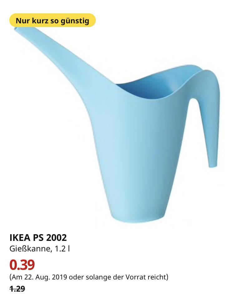 (IKEA Hamburg Altona nur am 22.08.) IKEA PS 2002 Gießkanne, hellblau, 1.2 l