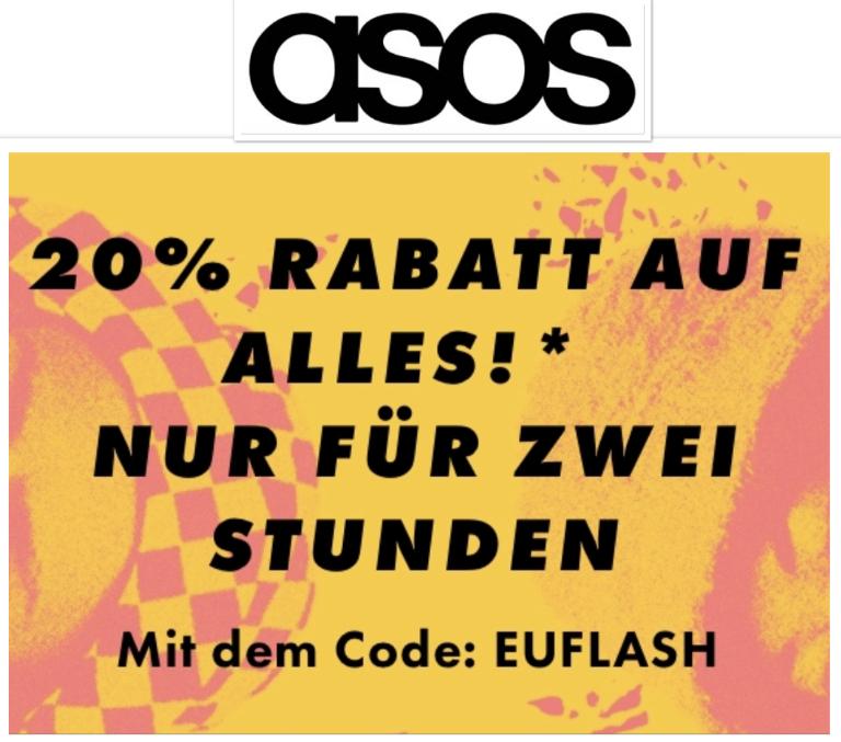 FLASH SALE – 20% Rabatt auf ALLES inclusive Sale nur von 19 - 21 Uhr!