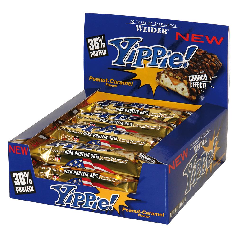 "12x 70g Weider Yippie! Bar: ""Peanut Caramel"" (MHD 30.09.) oder ""Chocolate Lava"" (MHD 31.08.)"