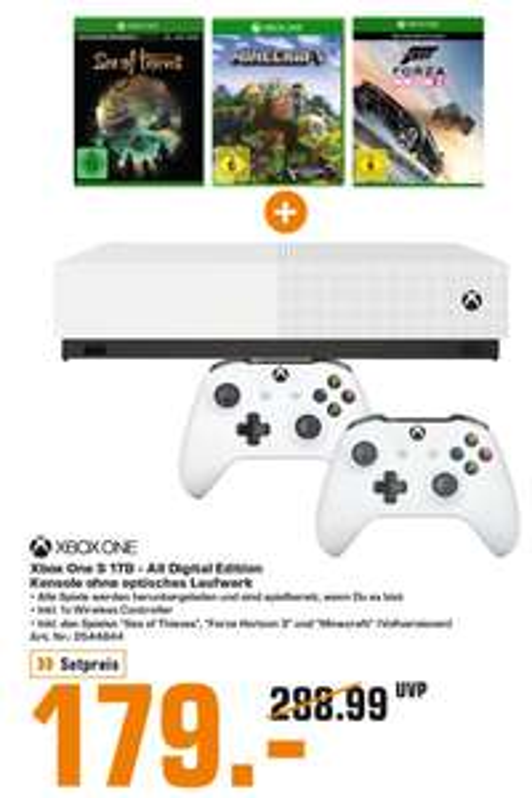 [Saturn München & Freising] Xbox One S 1TB (All Digital Edition) + 2.Controller + 3 Spiele (Forza Horizon 3, Sea of Thieves, Minecraft)