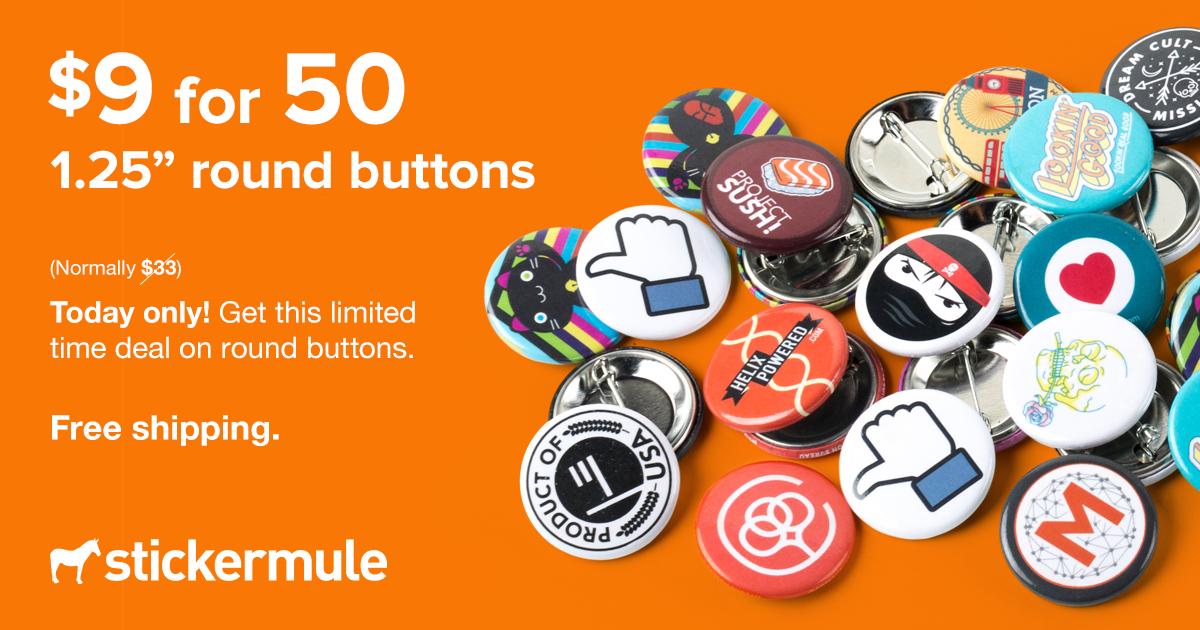 50 Individuelle 32mm x 32mm runde buttons bei Sticker Mule