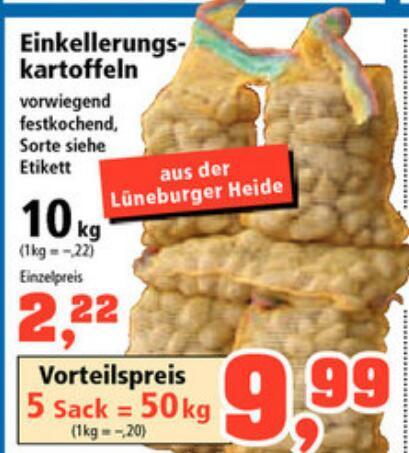 50 Kg Kartoffeln aus der Lüneburger Heide beim Thomas Philipps für 9.99 Euro